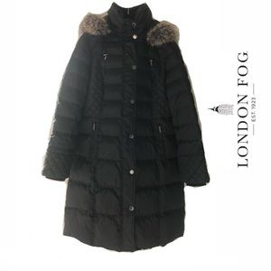 London Fog Hooded Faux-Fur-Trim Down Puffer Coat L